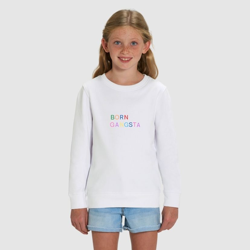 rakao-sweatshirt-kids-white-borngangsta-girl