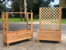 Load image into Gallery viewer, Cedar Raised Planters with Ladder Trellis
