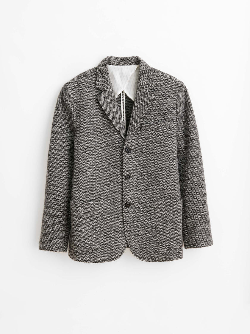 Knit Blazer in Herringbone Wool