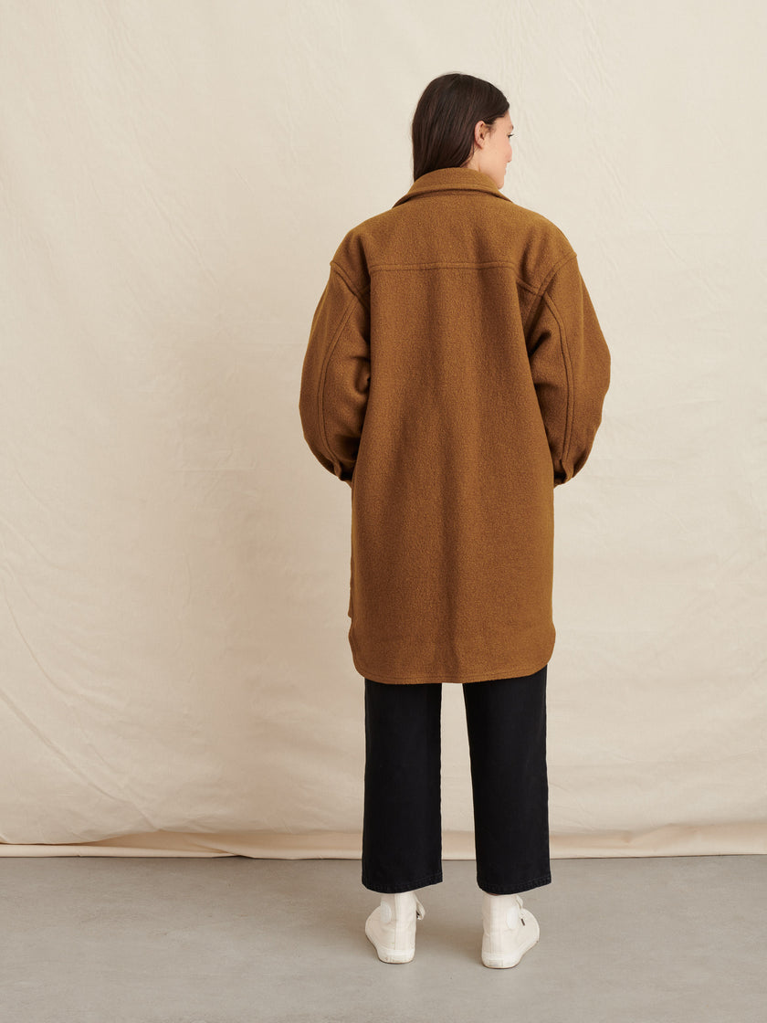 Oversized Shirt Jacket in Boiled Wool