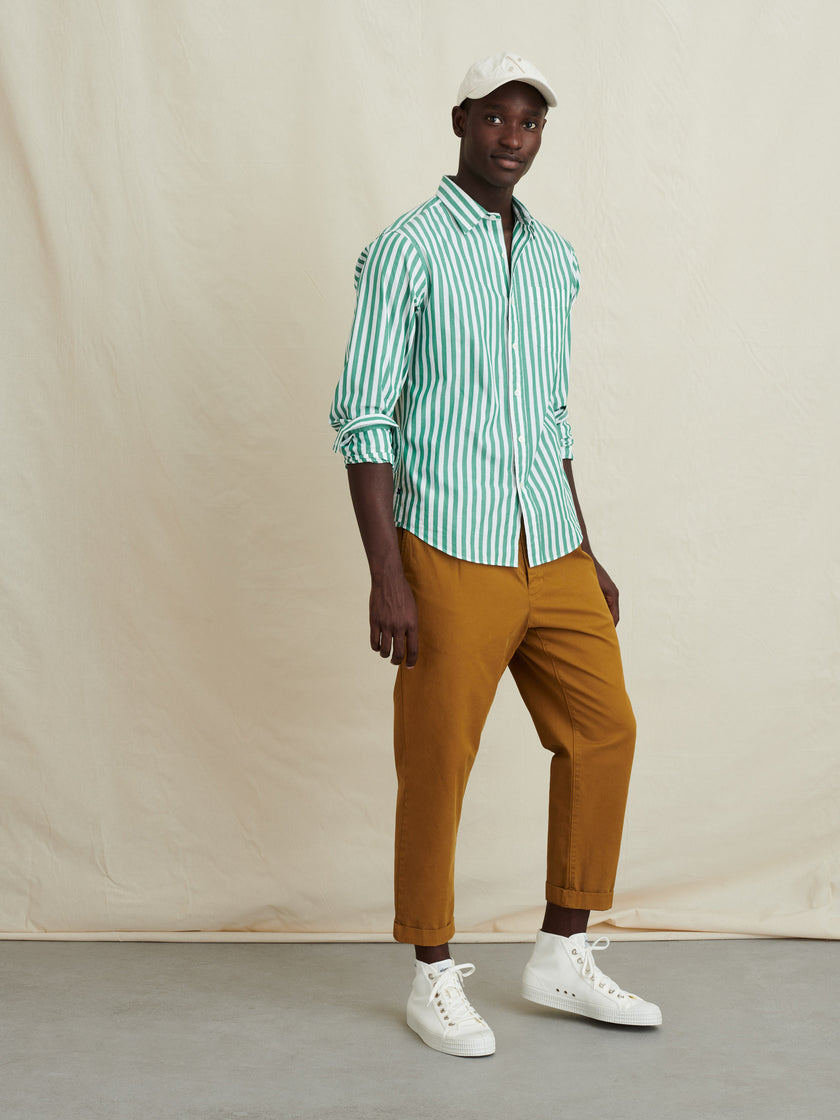 Mill Shirt in Wide Striped Portuguese Poplin