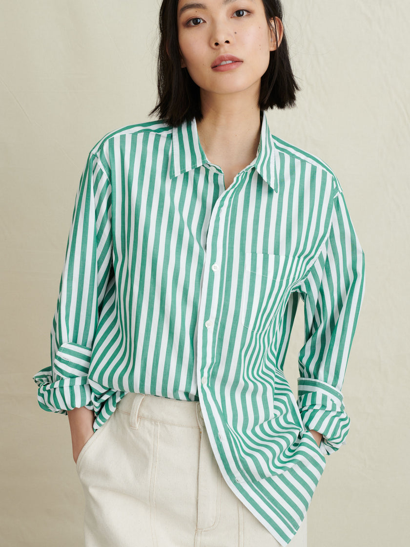 Men's Standard Shirt in Striped Portuguese Poplin