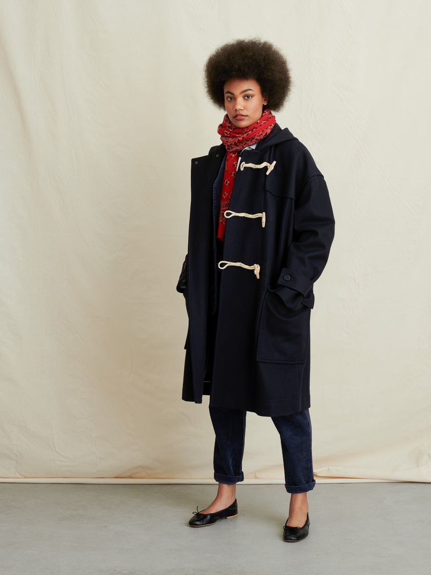 Officer Duffle Coat in Italian Melton Wool