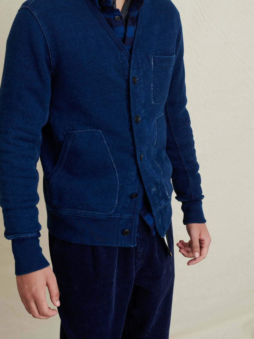 Cardigan in Indigo French Terry