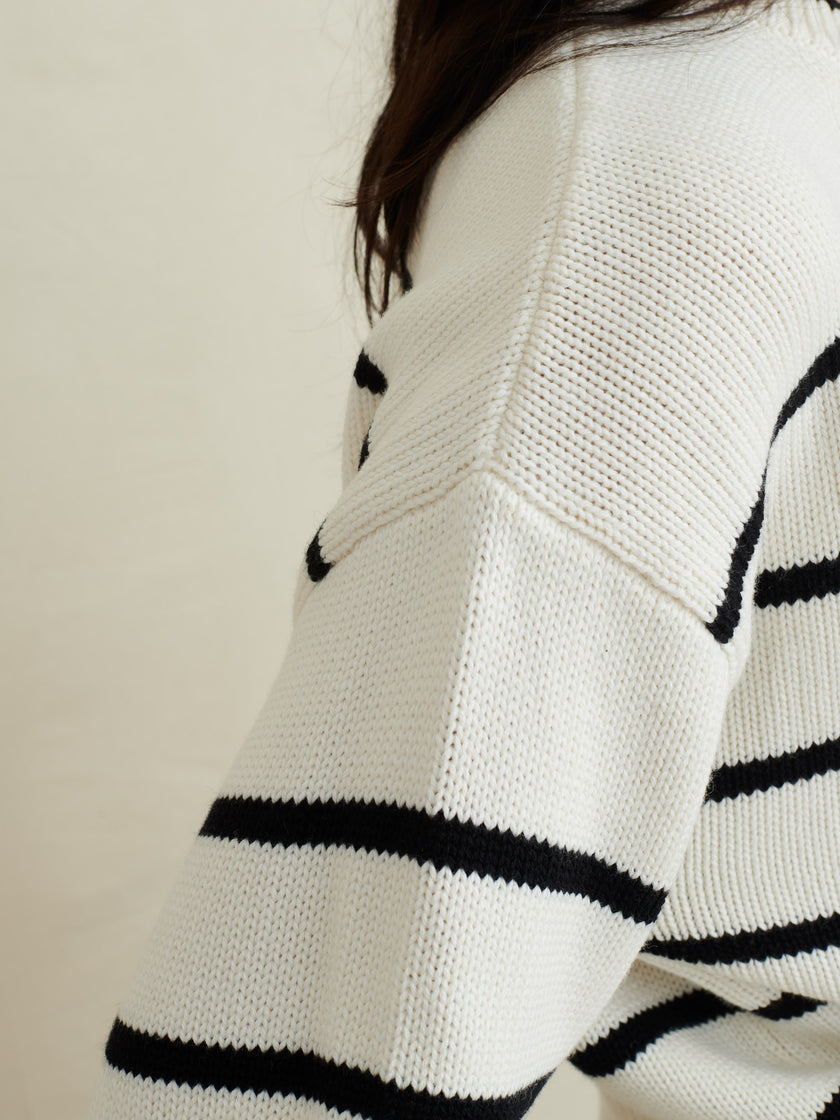 Cozy Striped Crewneck in Wool Cotton