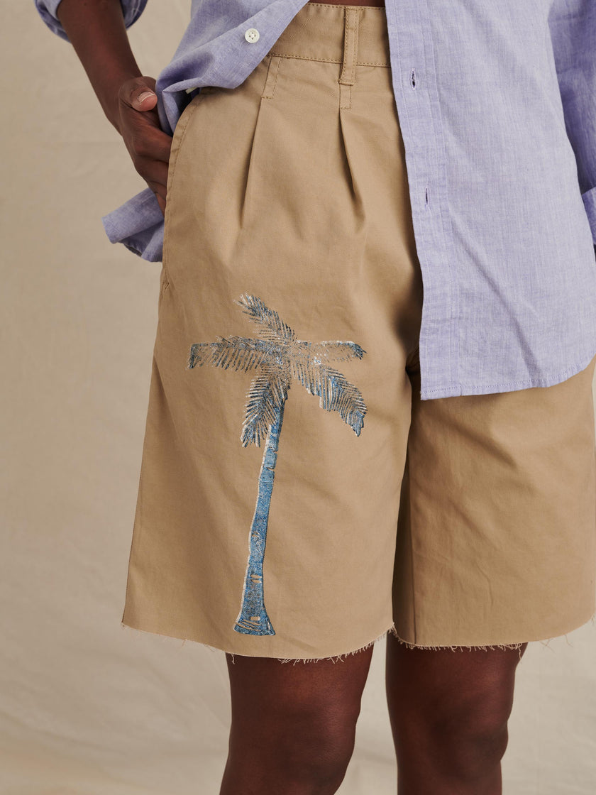 Pleated Shorts in Blockprint