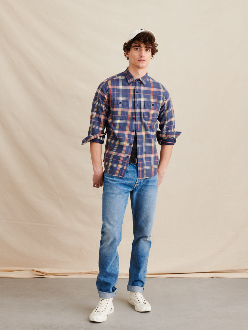 Washed Twill Chore Shirt in Check