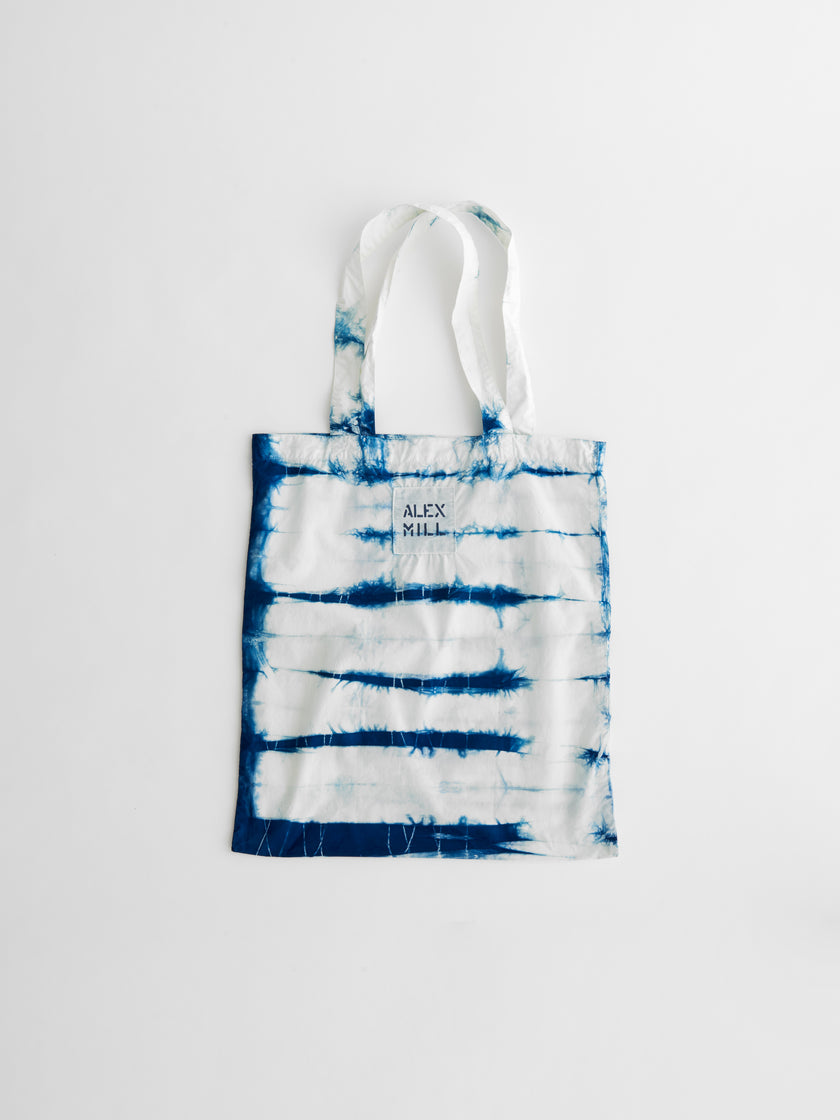 Paper Cotton Tote in Natural Indigo Shibori