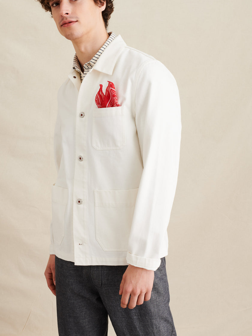 Work Jacket in White Denim