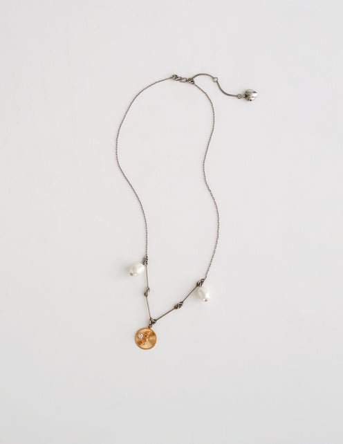 Bar Chain Necklace with Cupid Medallion
