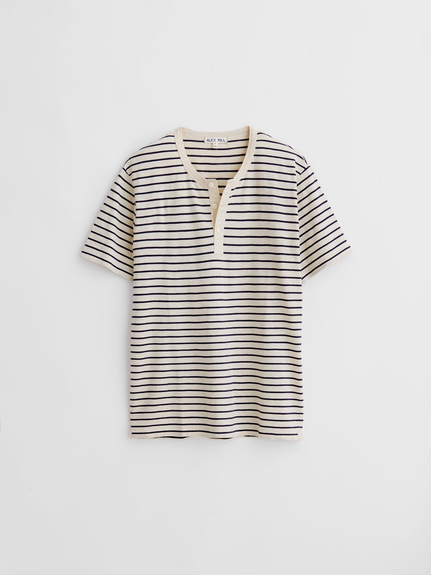 Henley Tee in Striped Slub Cotton