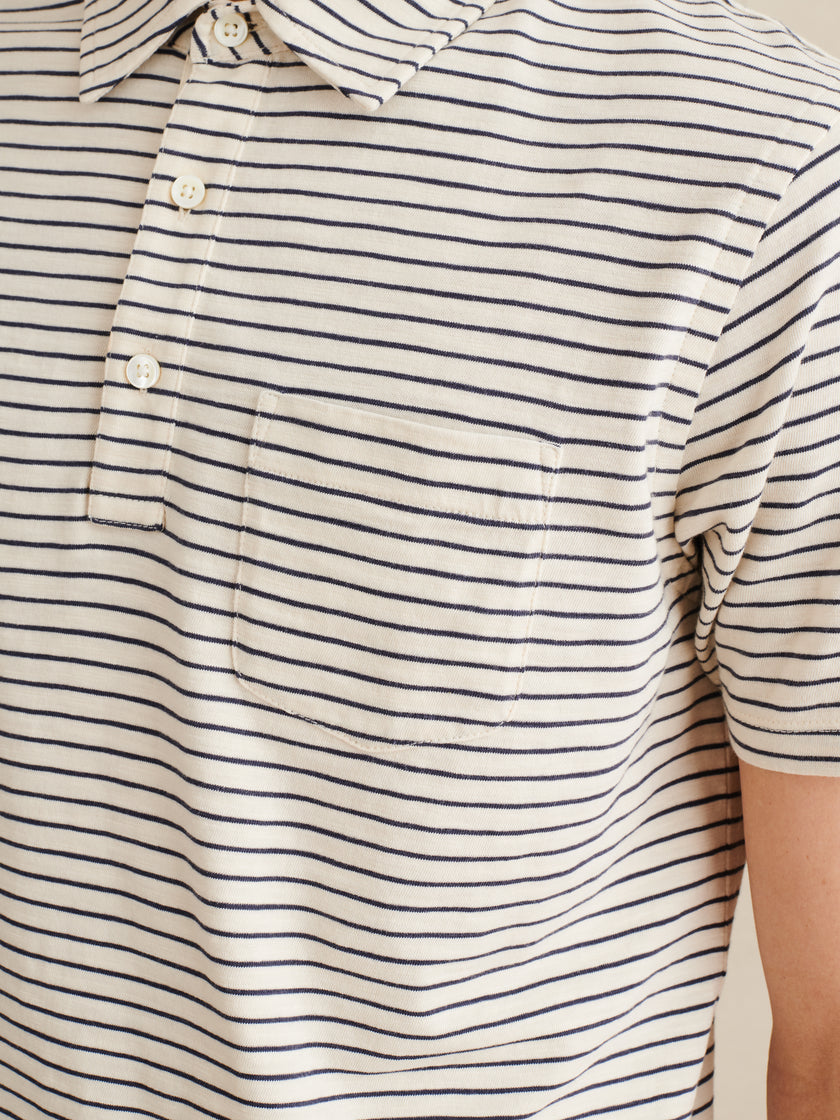 Standard Polo in Striped Slub Cotton
