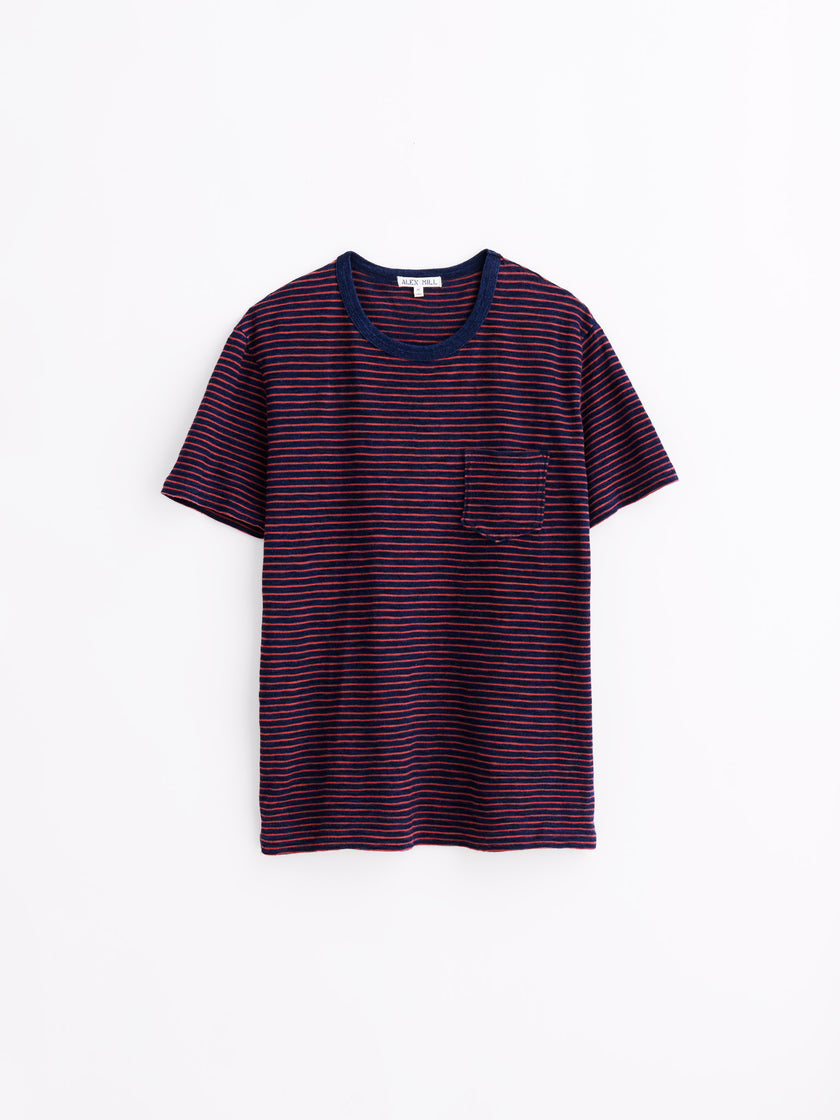 Pocket T-Shirt in Indigo Striped Jersey Cotton