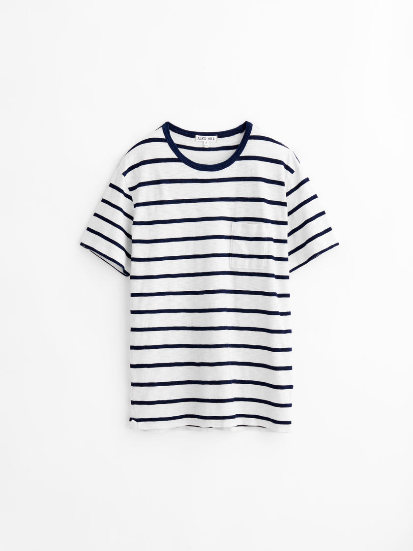 Pocket T-Shirt in Indigo Striped Slub Cotton
