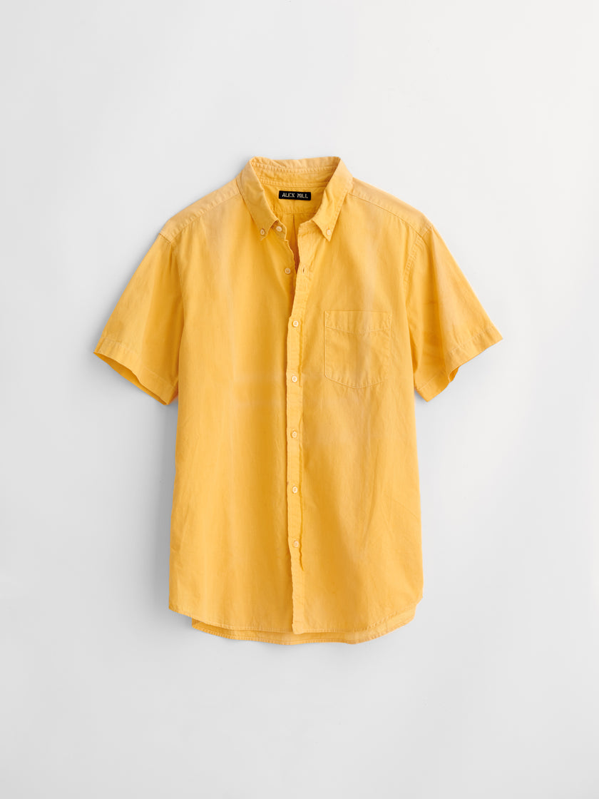 Alex Mill Limited Run: Natural Dye Short Sleeve Button-Down in Botanical Sunshine