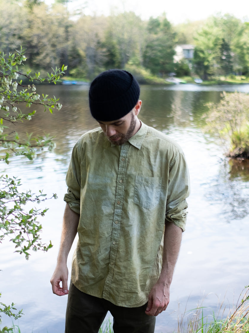 Alex Mill Limited Run: Natural Dye Button-Down in Botanical Faded Citron