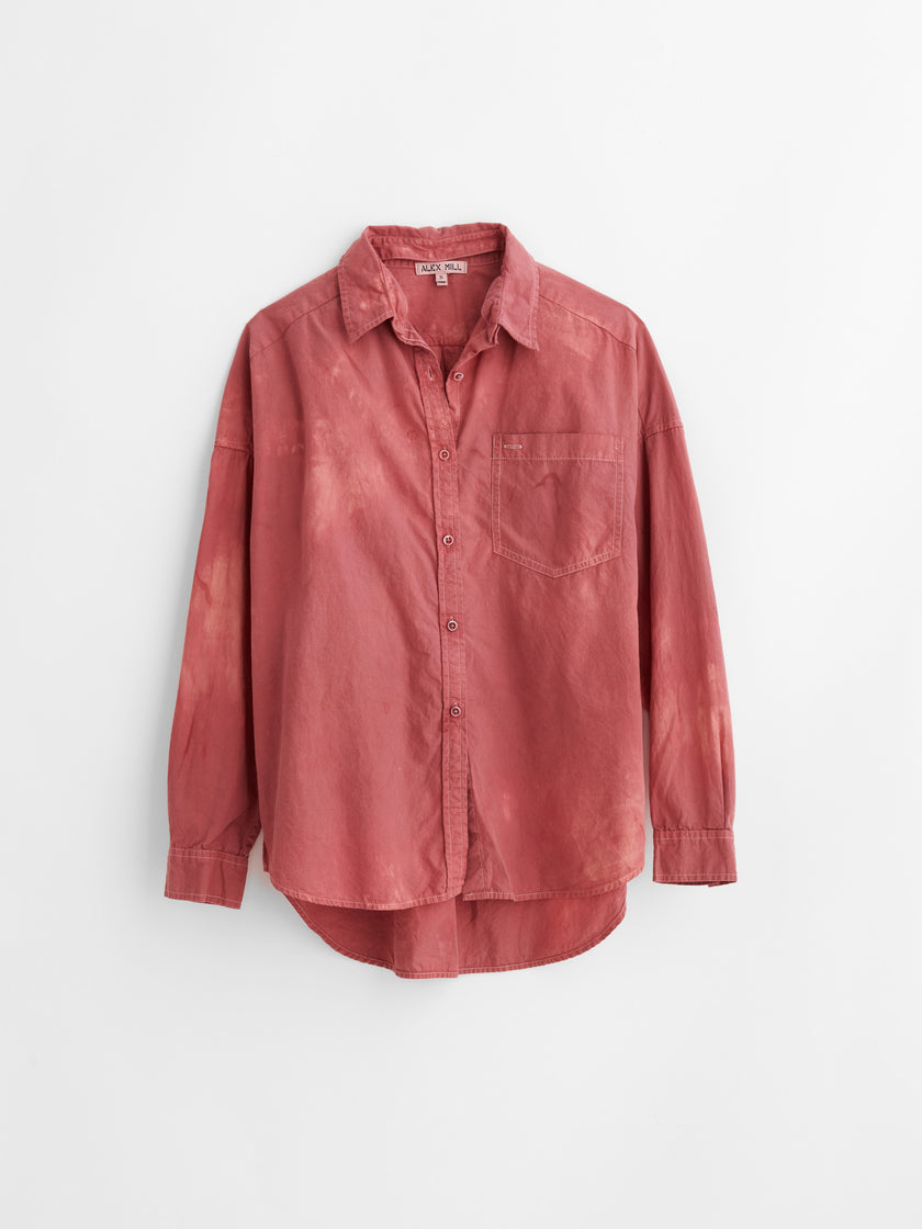 Alex Mill Limited Run: Natural Dye Removable Collar Button-Down in Botanical Raspberry