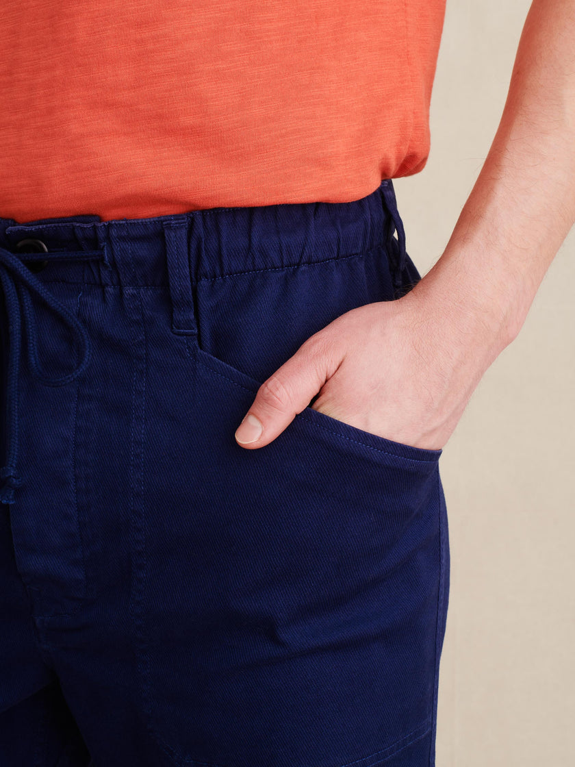 Pull-on Button Fly Shorts in Stretch Chino