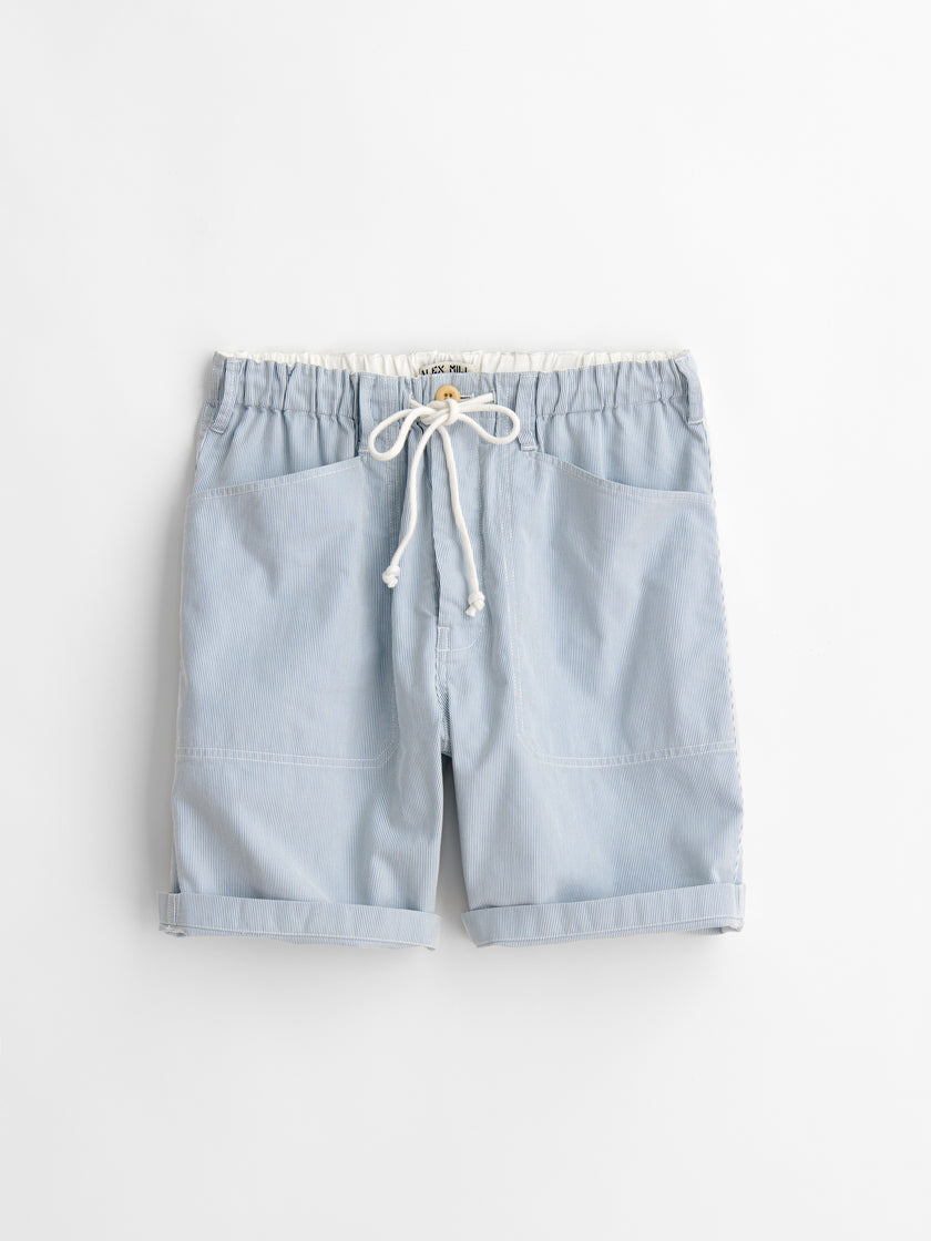 Pull On Button Fly Striped Shorts