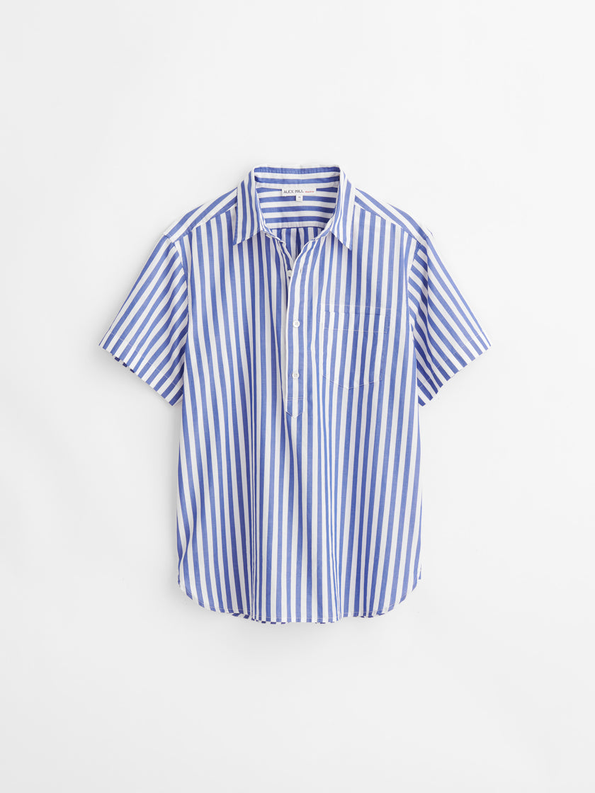 Short Sleeve Striped Popover Shirt