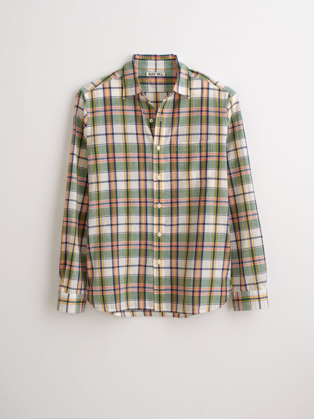 Lightweight Plaid Shirt in Cotton-Linen