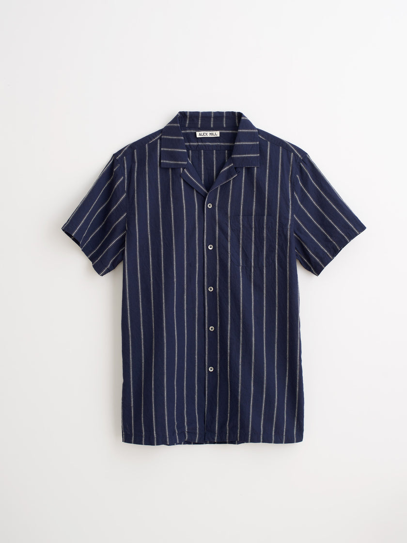 Short Sleeve Camp Shirt in Striped Cotton