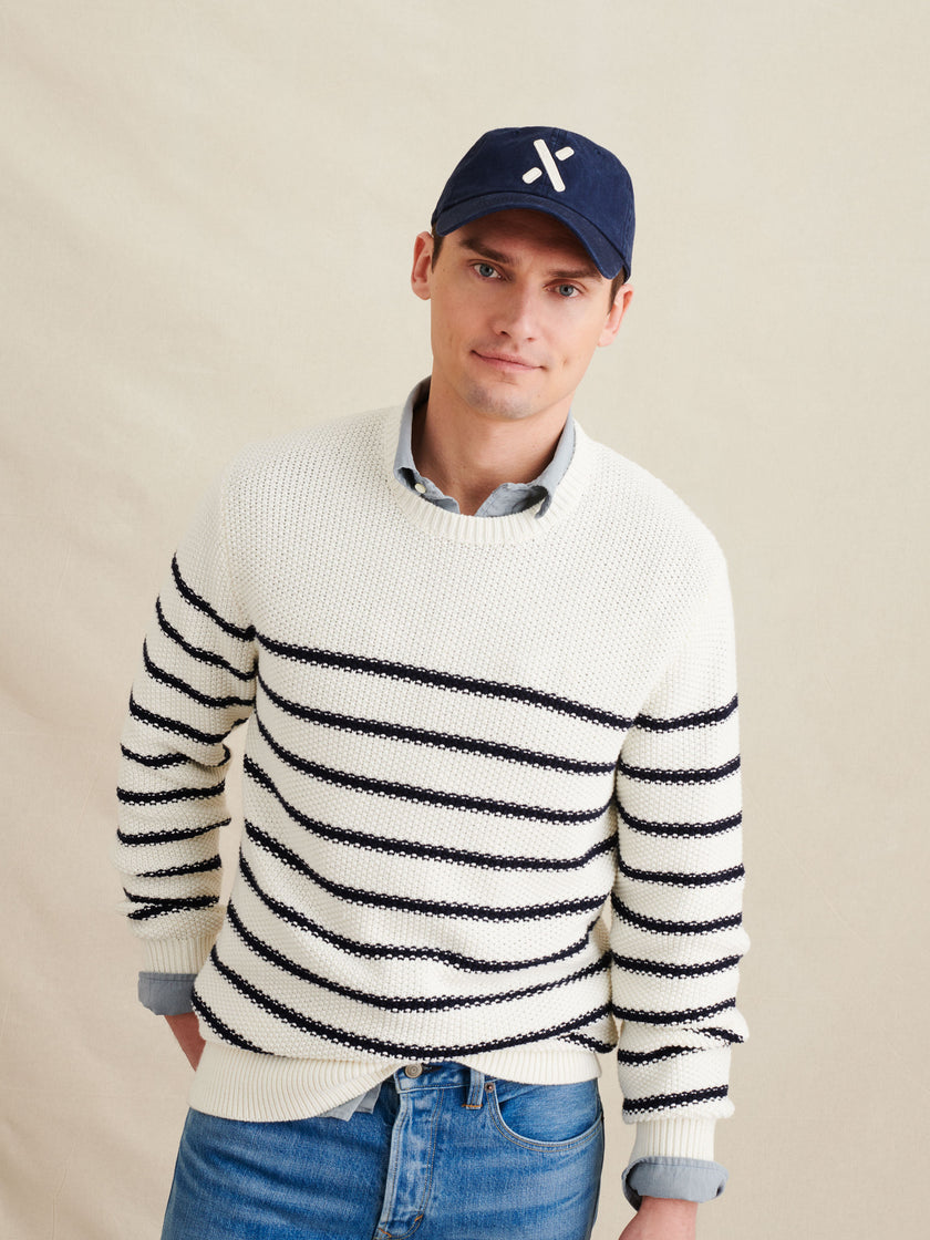 Textured Striped Crew Sweater