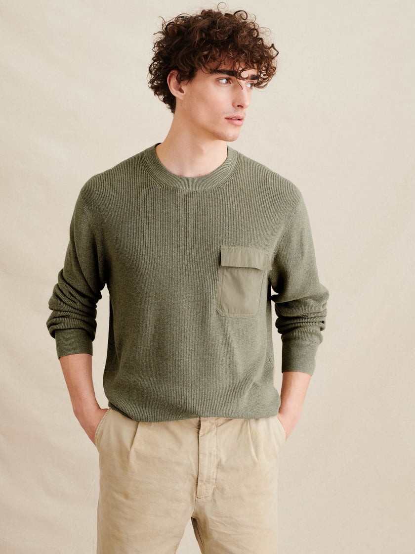 Woven Pocket Sweater