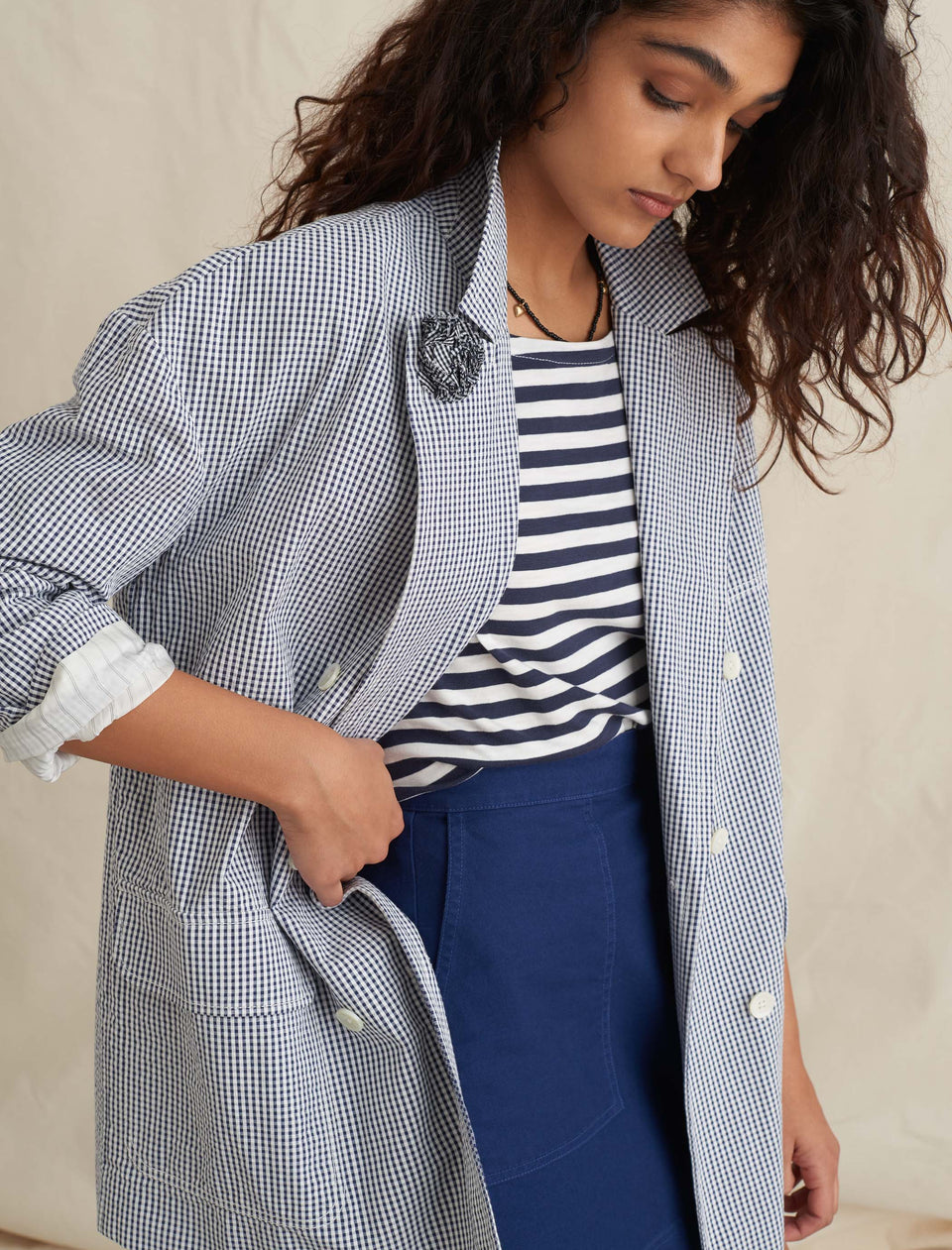 Double Breasted Blazer in Striped Portuguese Seersucker Cotton