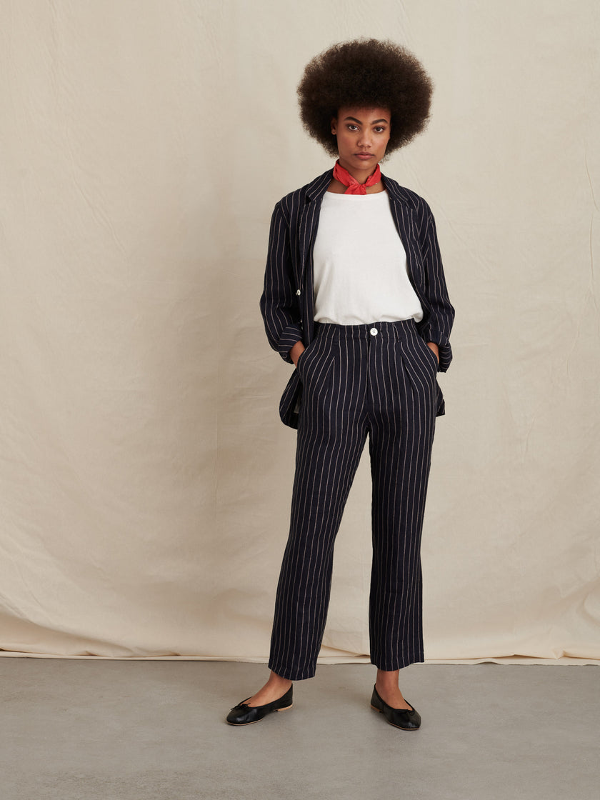 Boy Pant in Stripe Linen