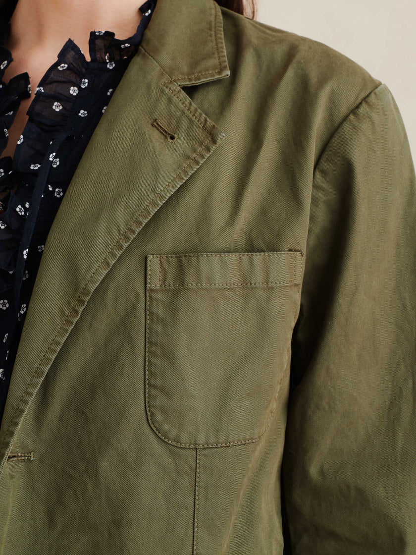 Boy Jacket in Garment-Dyed Cotton Twill