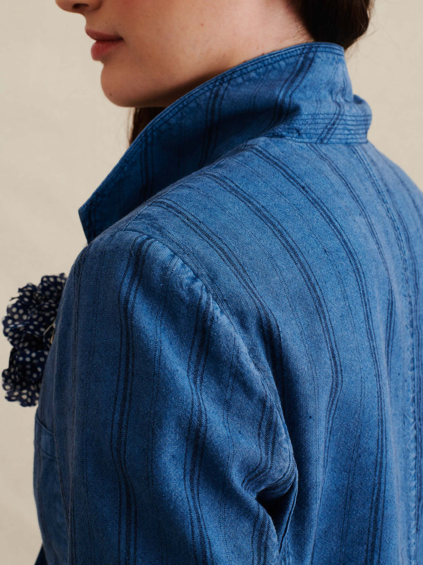 Boy Jacket in Indigo-Dyed Cotton Linen Stripe