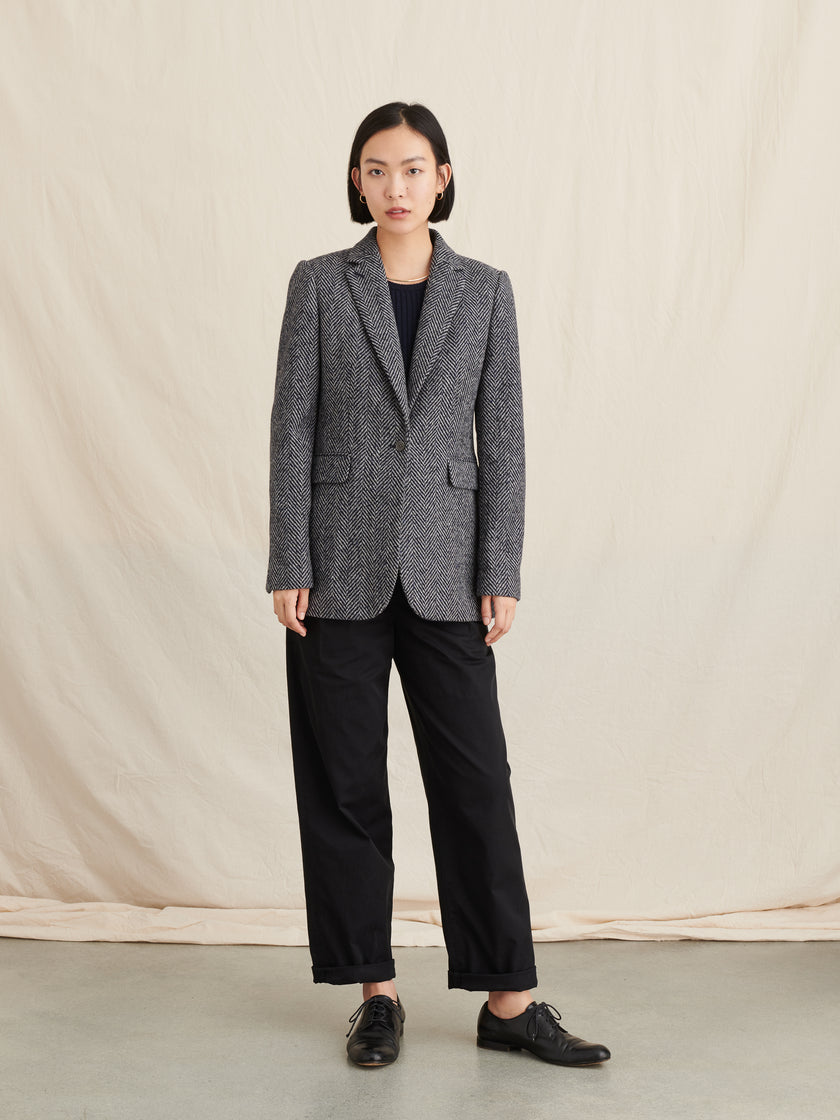 Ryder Blazer in Gray Herringbone