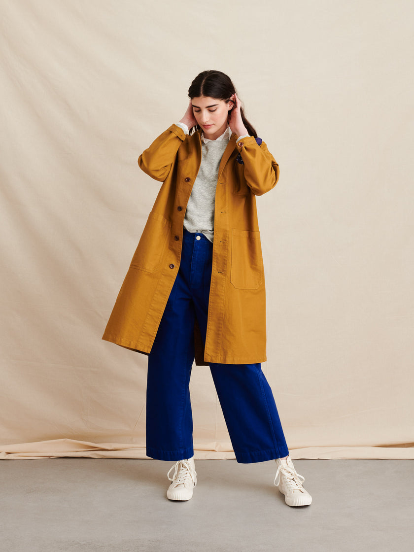 Long Work Jacket in Garment-Dyed Twill