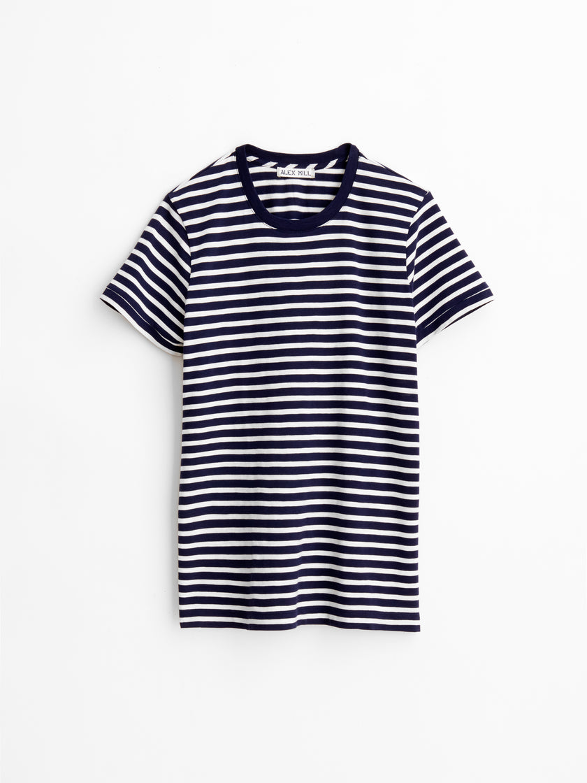 Standard T-Shirt in Navy Striped Slub Cotton