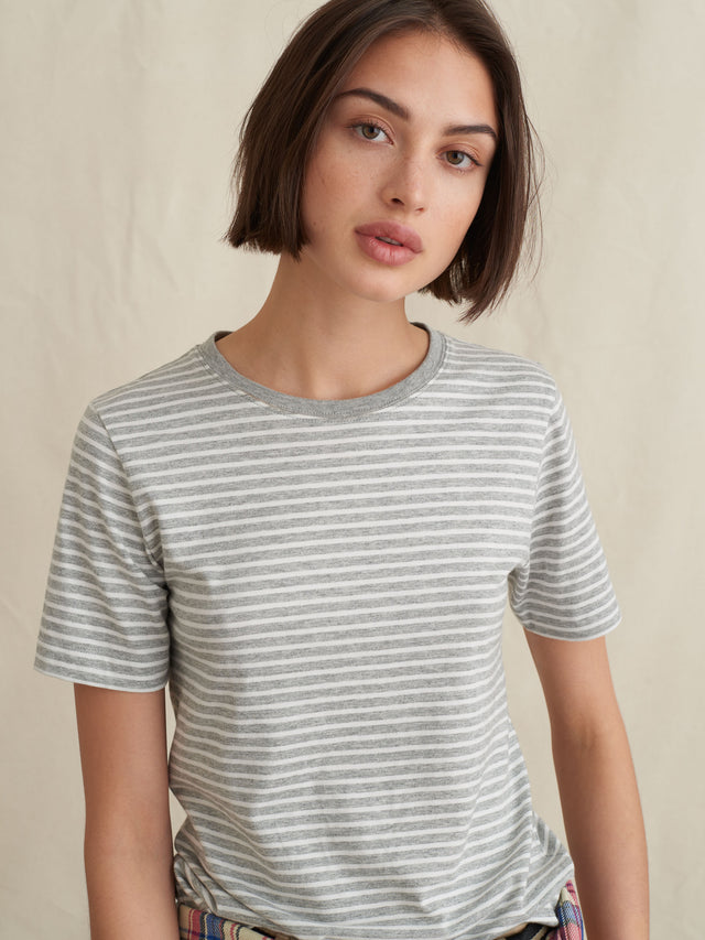 Modal Cotton Shrunken T-Shirt in Stripe