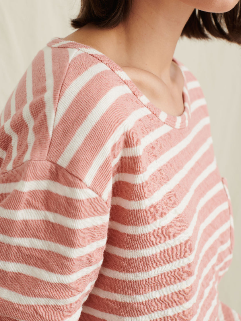 Cotton Double Face Crewneck Pullover in Stripe