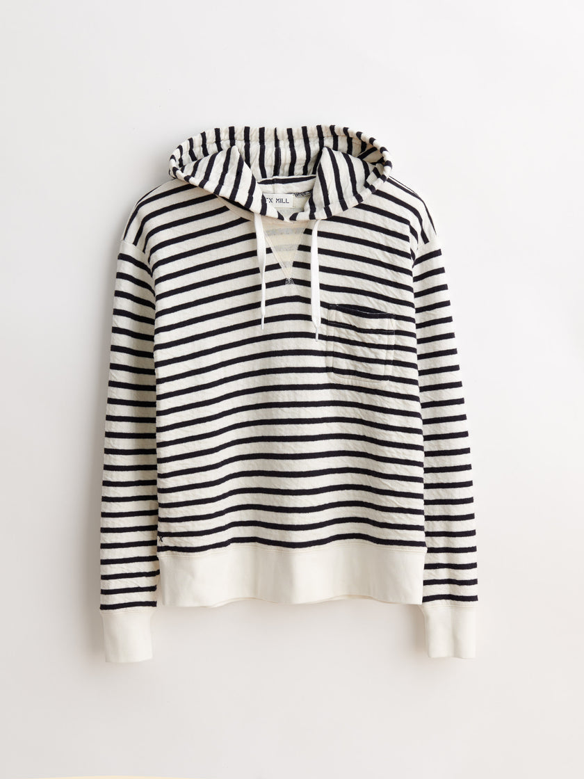 Cotton Double Face Hoodie in Stripe