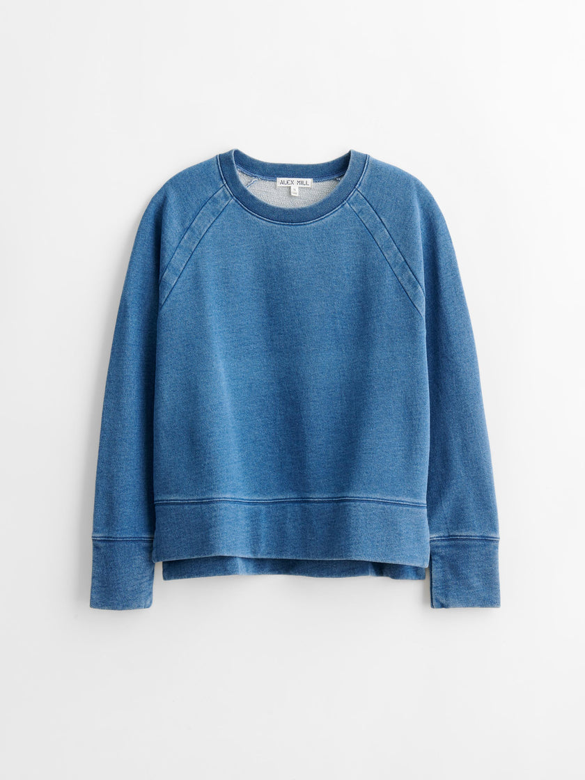 Jessie Pullover Sweatshirt in Indigo-Dyed Terry