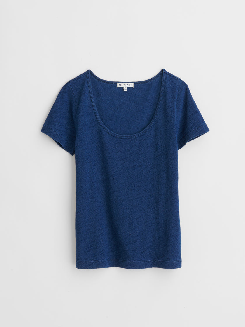 Standard Scoopneck T-Shirt in Indigo Slub Cotton