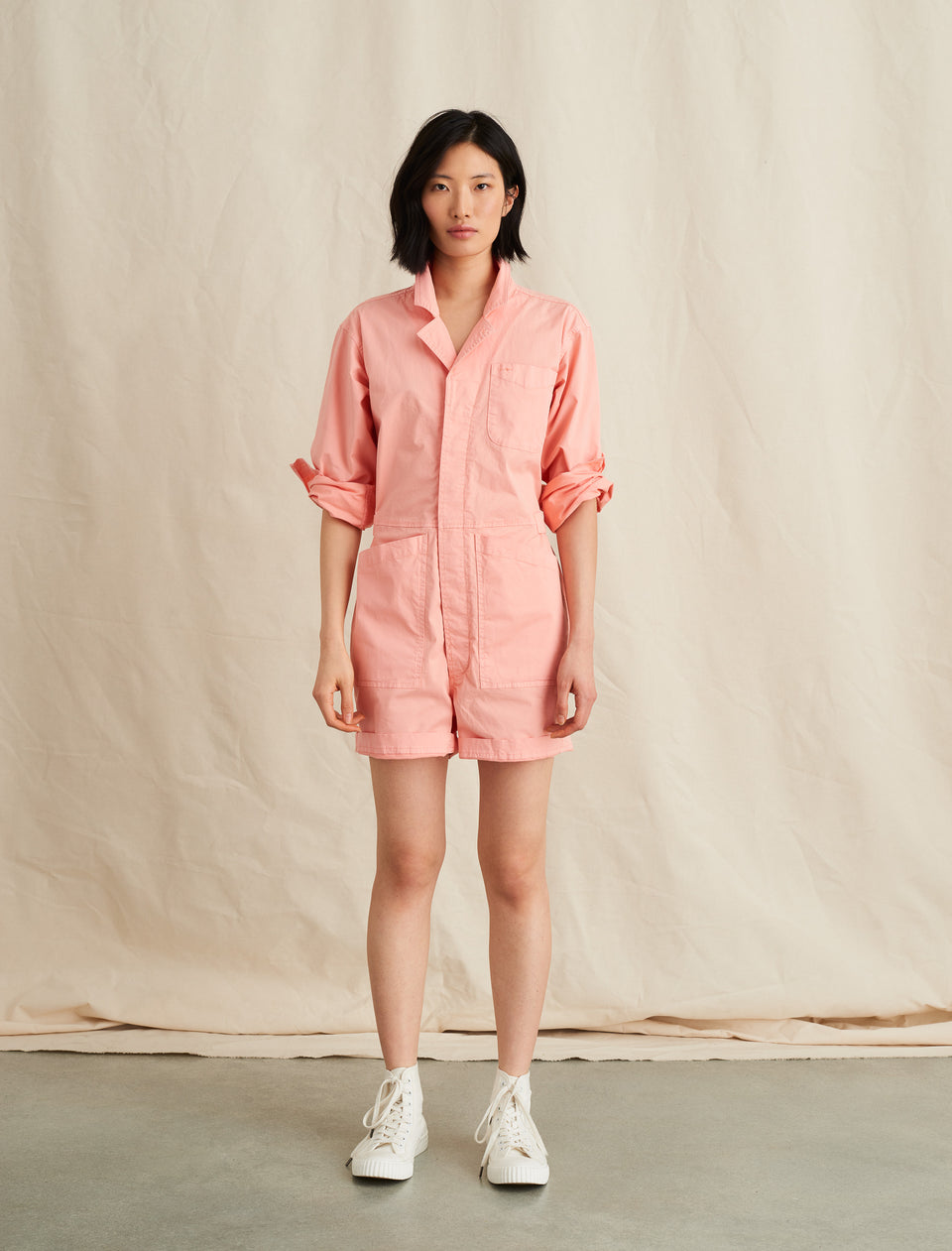 Short Jumpsuit in Cotton Twill