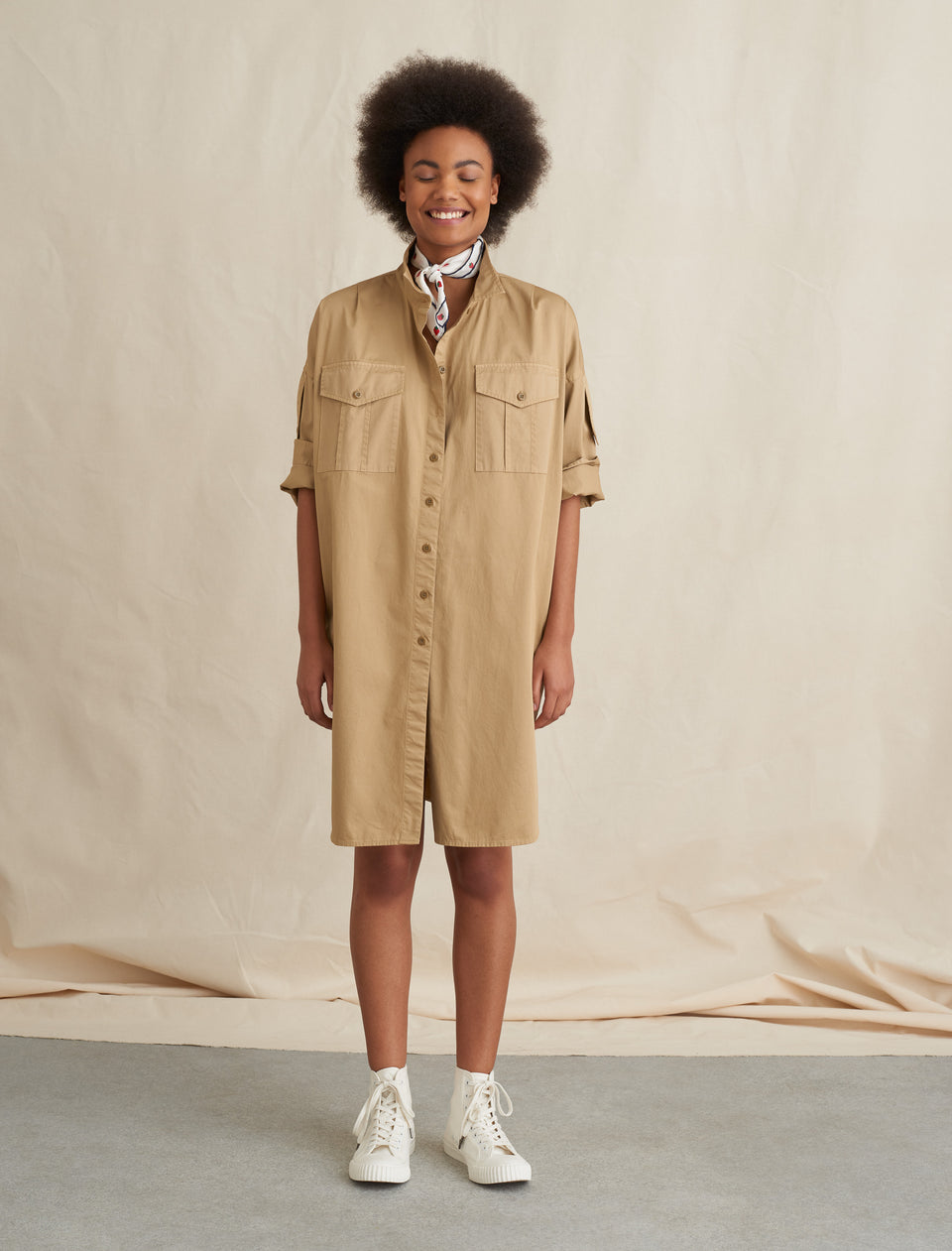 Military Shirt Dress in Cotton Twill