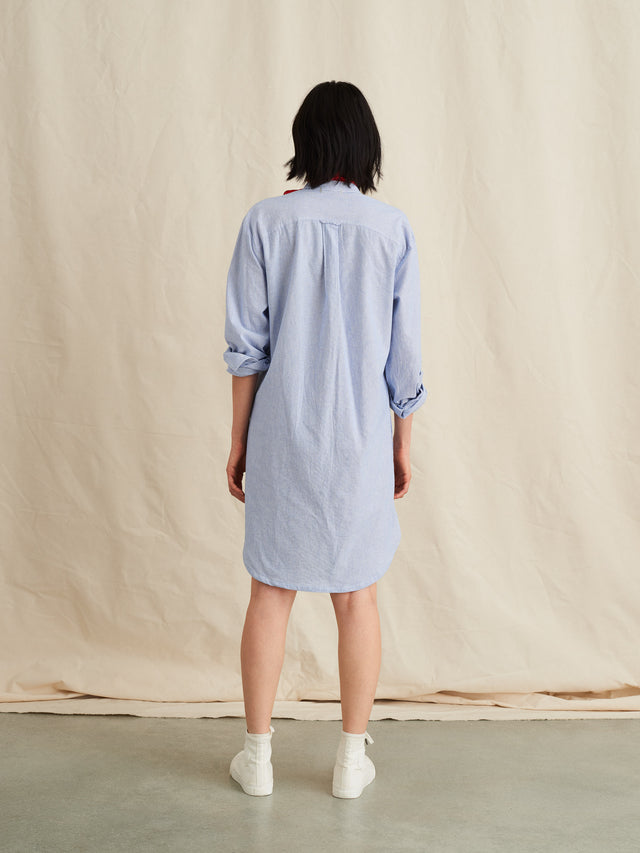 Popover Dress in Fine Striped Cotton