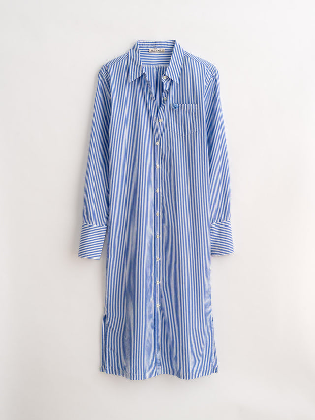 Standard Midi Shirtdress in Striped Cotton