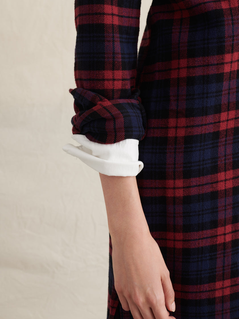 Standard Midi Shirtdress in Plaid Flannel