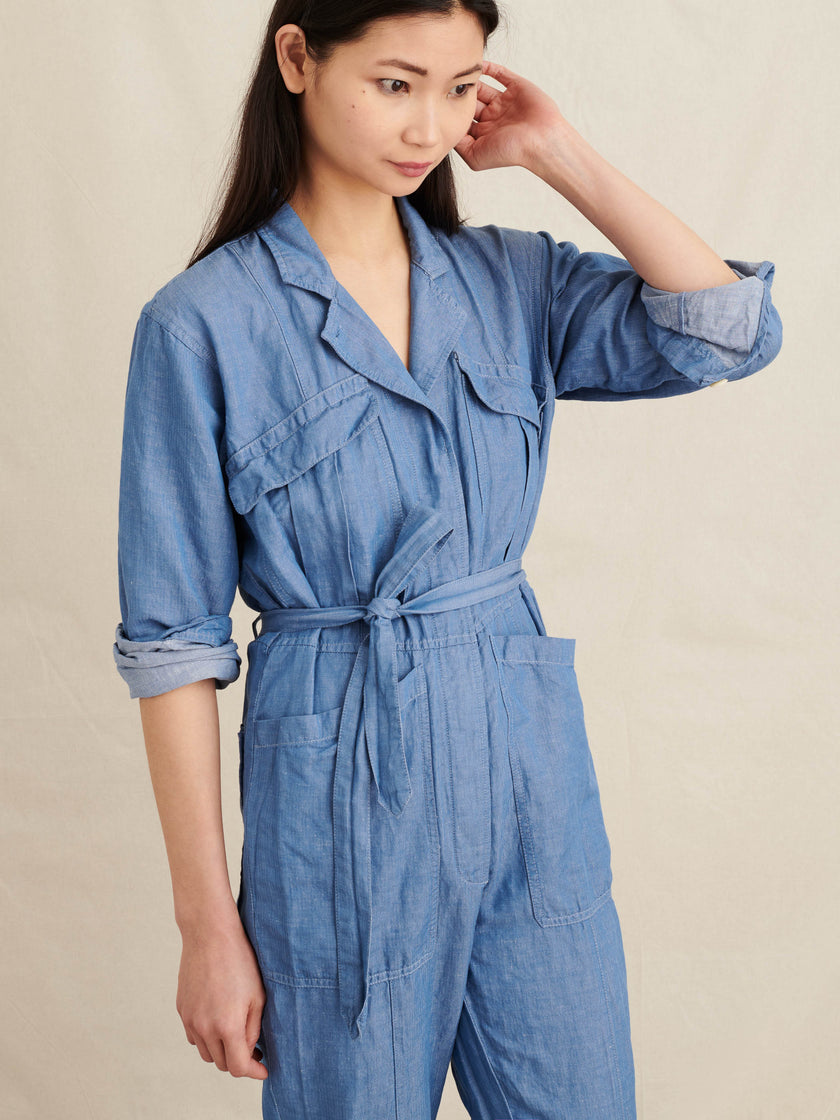 Expedition Jumpsuit in Linen Cotton Chambray