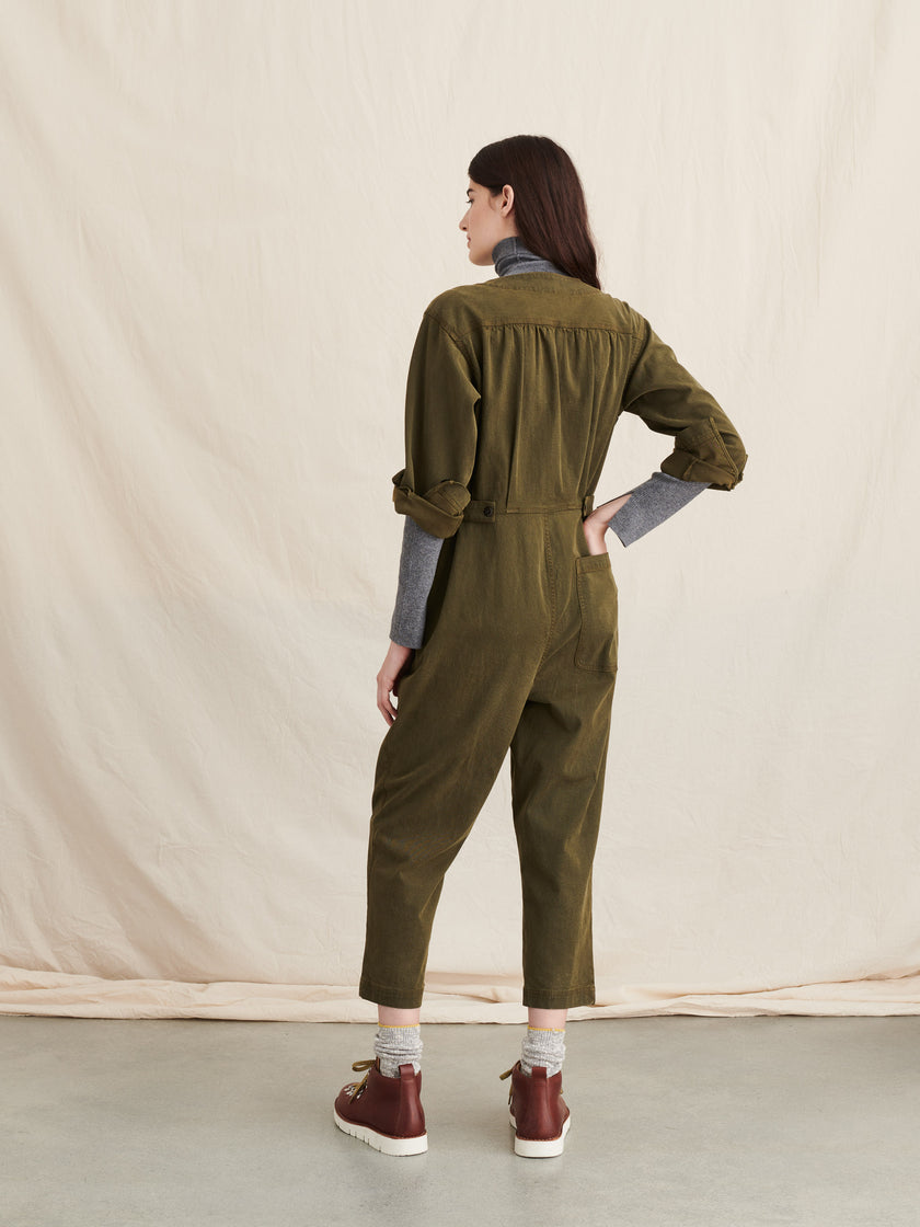 V-Neck Jumpsuit in Washed Twill