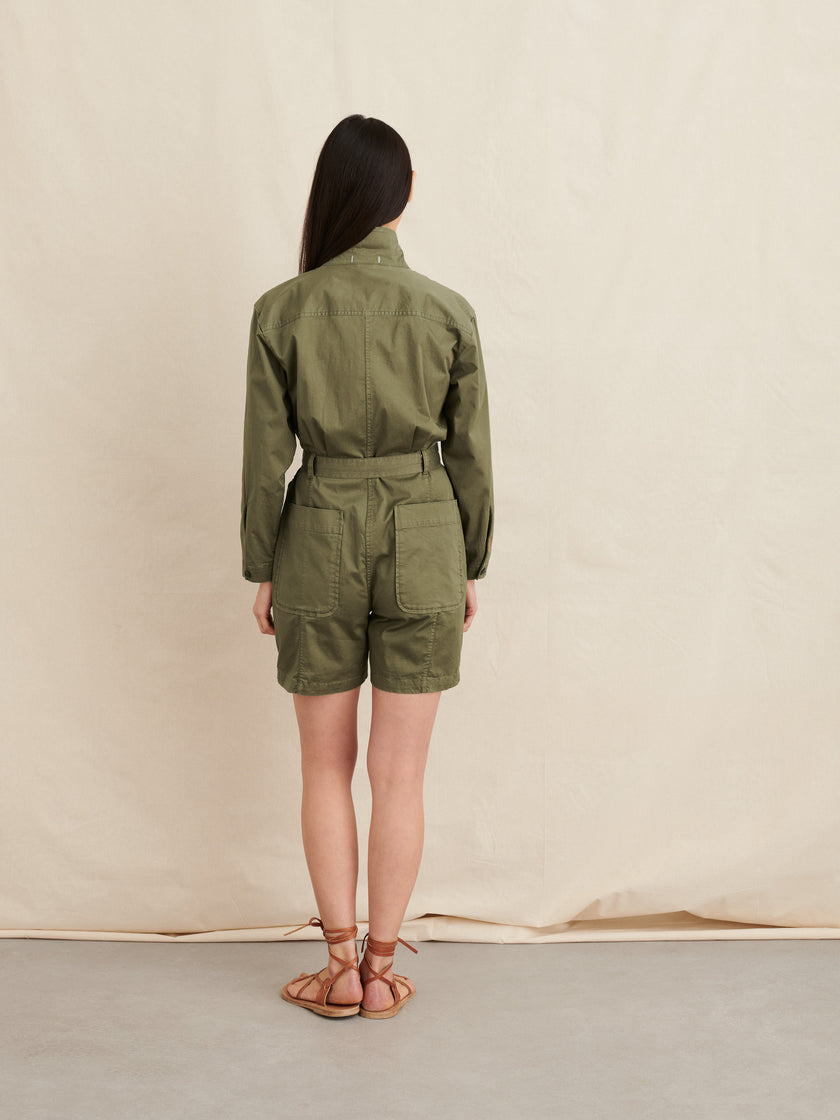Short Expedition Jumpsuit in Cotton Twill