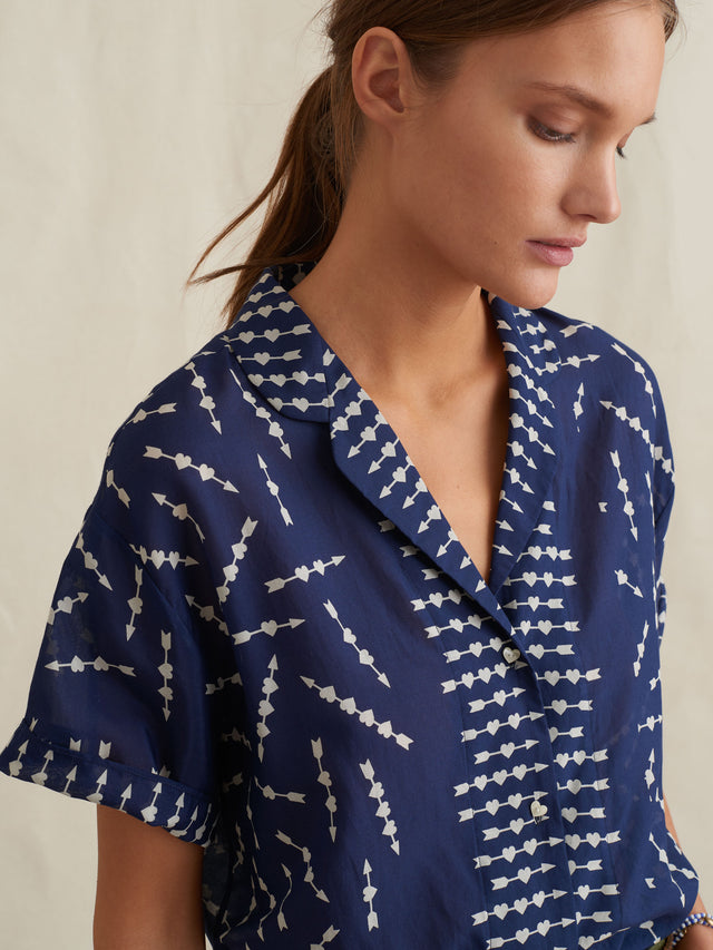 Silk Cotton Voile Shirt In Hearts & Arrows