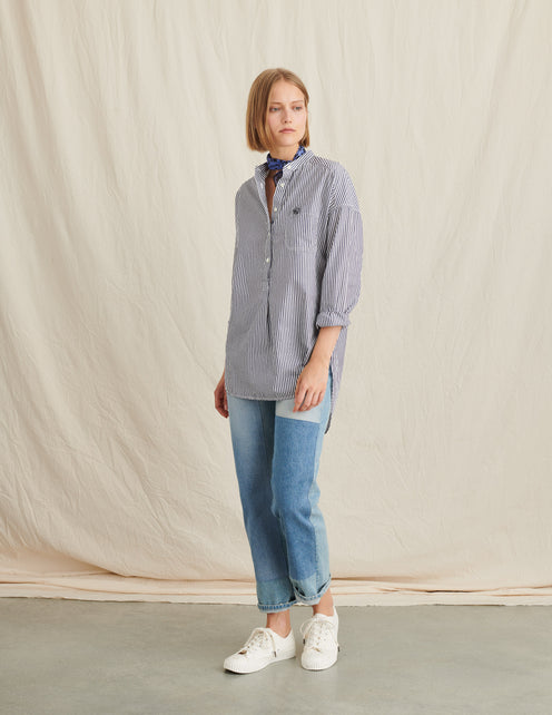 Popover Tunic in Bi-Striped Cotton